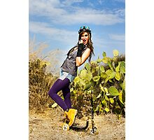 Trendy hip woman with purple tights outdoors  Photographic Print