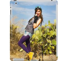 Trendy hip woman with purple tights outdoors  iPad Case/Skin