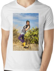 Trendy hip woman with purple tights outdoors  Mens V-Neck T-Shirt
