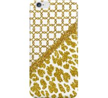 Chic gold faux glitter quatrefoil animal print iPhone Case/Skin