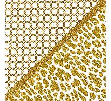 Chic gold faux glitter quatrefoil animal print Photographic Print