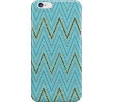 Trendy turquoise gold faux glitter chevron pattern iPhone Case/Skin