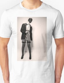 Caucasian woman with black mask in black and white  Unisex T-Shirt