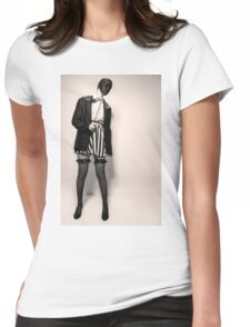 Caucasian woman with black mask in black and white  Womens Fitted T-Shirt
