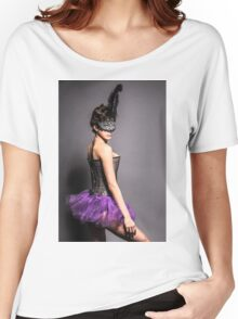 Female dancer with carnival mask on black background  Women's Relaxed Fit T-Shirt