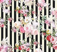 Vintage pink floral black yellow stripes pattern by Maria Fernandes