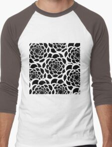 Abstract black and white modern floral pattern Men's Baseball ¾ T-Shirt