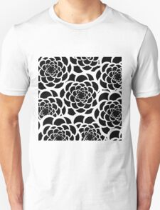 Abstract black and white modern floral pattern Unisex T-Shirt