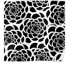Abstract black and white modern floral pattern Poster