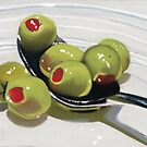 Olives on a Spoon by ria hills