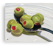 Olives on a Spoon Canvas Print