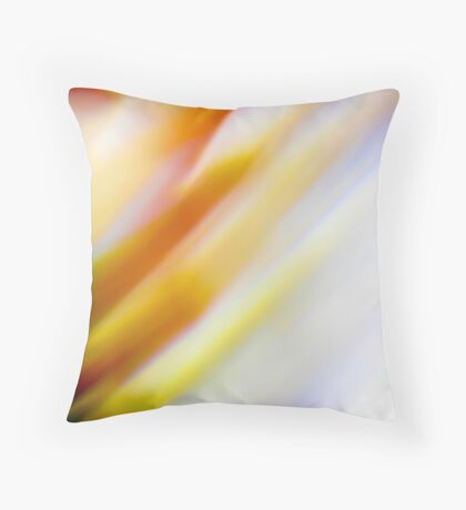 Abstract brilliant colorful abstract in yellow and white  Throw Pillow