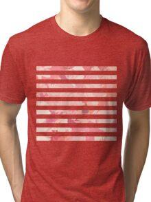 Modern vintage pink coral watercolor stripes Tri-blend T-Shirt