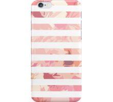 Modern vintage pink coral watercolor stripes iPhone Case/Skin