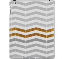 Modern vintage gray gold faux glitter chevron iPad Case/Skin