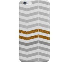 Modern vintage gray gold faux glitter chevron iPhone Case/Skin