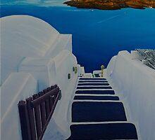Upstairs Downstairs to Santorini Caldera by mitzisan