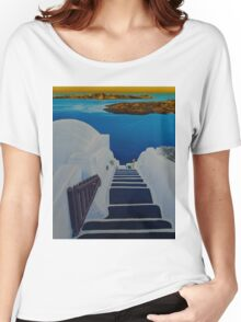 Upstairs Downstairs to Santorini Caldera Women's Relaxed Fit T-Shirt