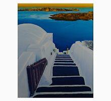 Upstairs Downstairs to Santorini Caldera Unisex T-Shirt