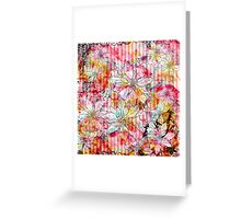 Vintage colorful watercolor floral stripes pattern Greeting Card