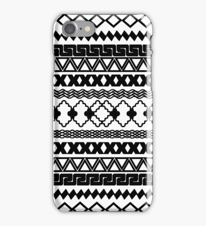 Vintage black and white tribal aztec pattern iPhone Case/Skin
