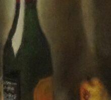 Still life of wine and fruit Sticker