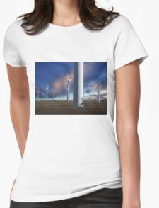 Wind Farm at Sunset Womens Fitted T-Shirt