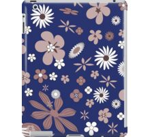 Vintage navy blue white brown floral pattern iPad Case/Skin
