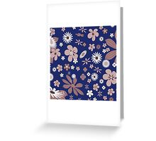 Vintage navy blue white brown floral pattern Greeting Card