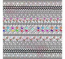 vintage Black White aztec pink flamingo floral Photographic Print