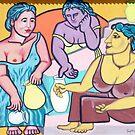Three Women at a Fountain by Rhinovangogh