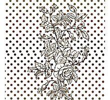 Vintage black white rose brown polka dots pattern  Photographic Print