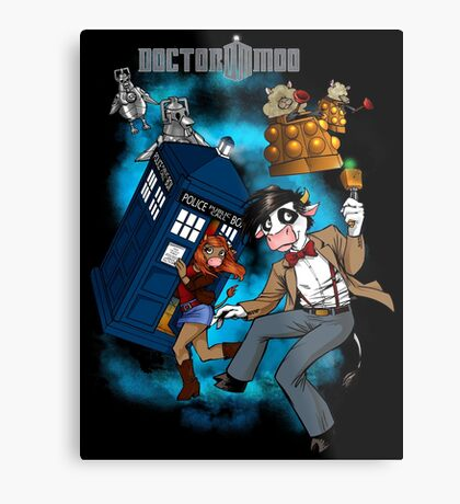 Doctor Moo vs the Baaleks and CyberHens Metal Print