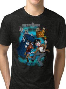 Doctor Moo vs the Baaleks and CyberHens Tri-blend T-Shirt