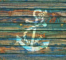 Cool Anchor Green Blue Rustic by Maria Fernandes