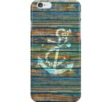 Cool Anchor Green Blue Rustic iPhone Case/Skin