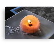Burning Candle Metal Print