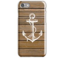 White anchor vintage rustic brown wood  iPhone Case/Skin