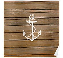 White anchor vintage rustic brown wood  Poster
