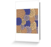 Vintage modern navy blue brown floral pattern Greeting Card