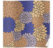 Vintage modern navy blue brown floral pattern Poster