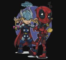 Deadpool and Thor by Gento