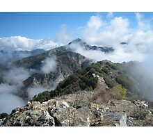 Strawberry Peak With Cloud Dollops Photographic Print