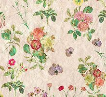 Vintage chic yellow pink cute floral pattern  by Maria Fernandes
