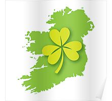 IRELAND map with a shamrock Poster
