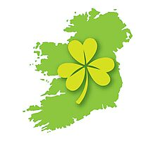 IRELAND map with a shamrock Photographic Print