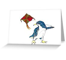 Penguin with a kite Greeting Card