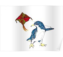 Penguin with a kite Poster