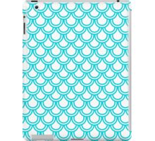 Modern Turquoise White Retro Scallop Pattern iPad Case/Skin