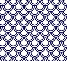 Girly Modern Blue White Retro Scallop Pattern by Maria Fernandes
